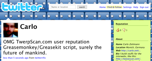 Screenshot of the Greasemonkey-added TwerpScan.com user reputation thumbs