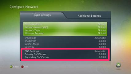 Screenshot Network Configuration
